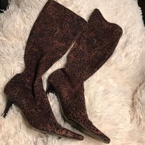 Faux animal print boots